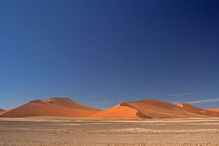 sossusvlei: red dunes of sossusvlei; Landscape in Namibia; photographed in October 2009
