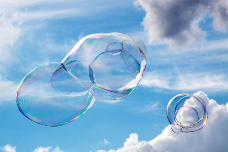 Soap bubbles fly through the air