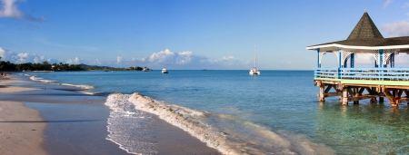 antigua: Beautiful Dickenson Bay in Antigua, photographed in November 2012 Stock Photo