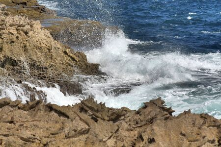 Suplado Jacuzzi, a natural whirlpool, photographed on the north coast of Curacao Stock Photo