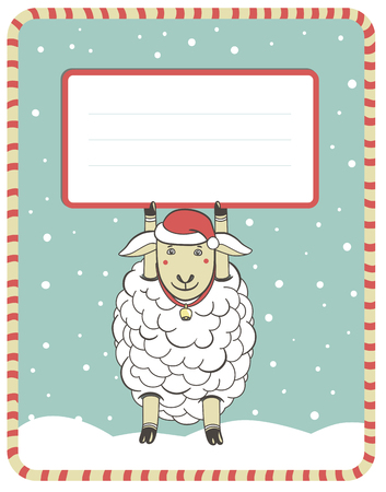 congratulatory: Christmas greeting card with the image of funny sheep with a sign for the congratulatory text. template