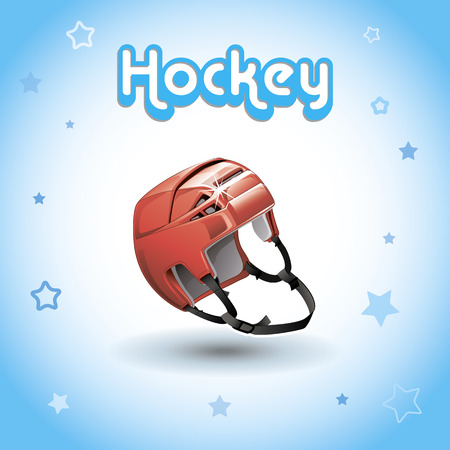 concussion: realistic image of a hockey helmet on a blue background.
