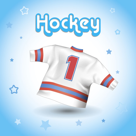 concussion: realistic image of a hockey tshirt on a blue background. Illustration