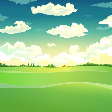 grassland: vector illustration with country landscape. sky and meadow Illustration