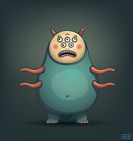 ghost cartoon: funny many-eyed monster with tentacles vector image Illustration