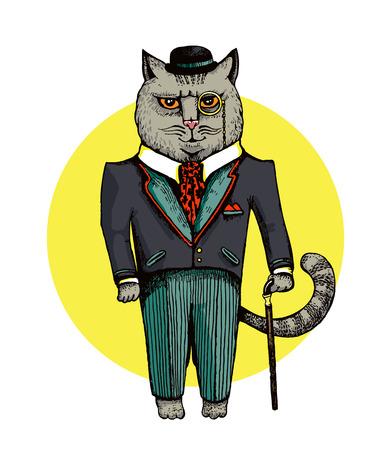 gentleman Cat dressed in suit and hat vector illustration Illustration