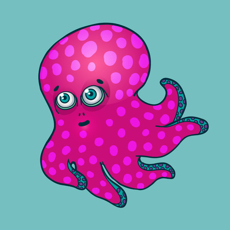 cute blue baby octopus vector illustration on a blue background