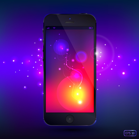 chromium: Smart Phone with shine background. Realistic vector. Illustration