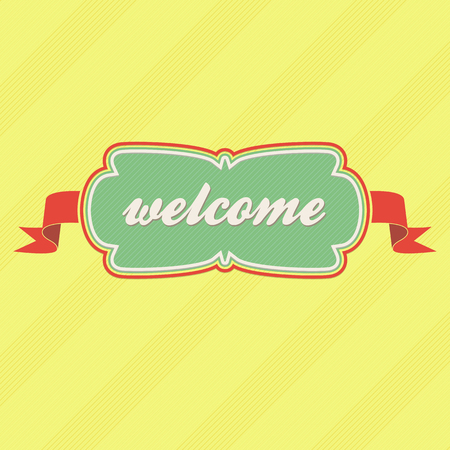 locution: welcome card in the form of a label with ribbons on a yellow background