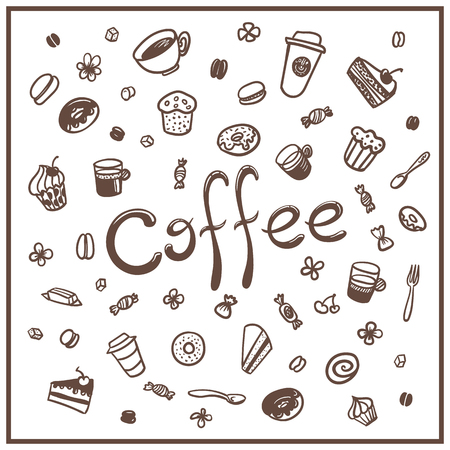 coffee to go: coffee set. coffee to go. coffee break Illustration