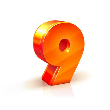 volumetric: 3d orange-red realistic volumetric image number nine. Isolated on white background