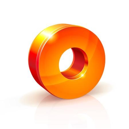 volumetric: 3d orange-red realistic volumetric image number zero. Isolated on white background Illustration