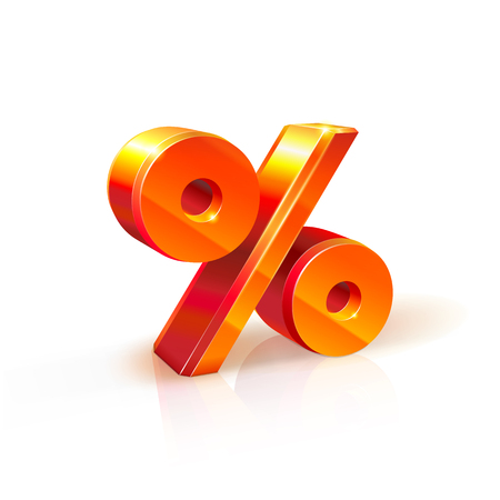 refer: 3d orange-red realistic volumetric percent sign image. Isolated on white background. It used to refer to discounts, sales, advertising purposes