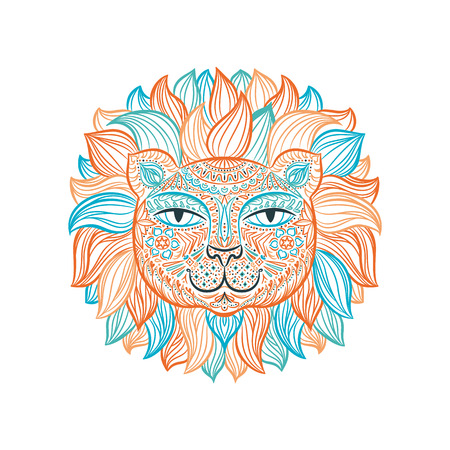 Color image of a lion head on a white background. Can be used for logo, tattoo, horoscopes, T-shirt graphic, etc.
