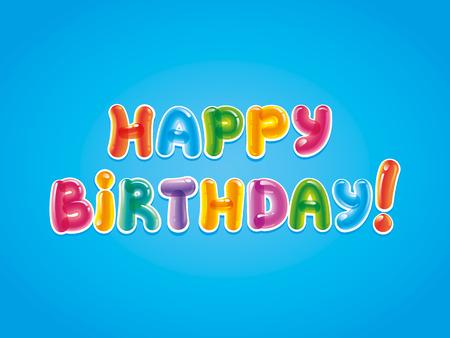 Gefeliciteerd met de dag van de geboorte. Verjaardagswenskaart op een blauwe achtergrond.