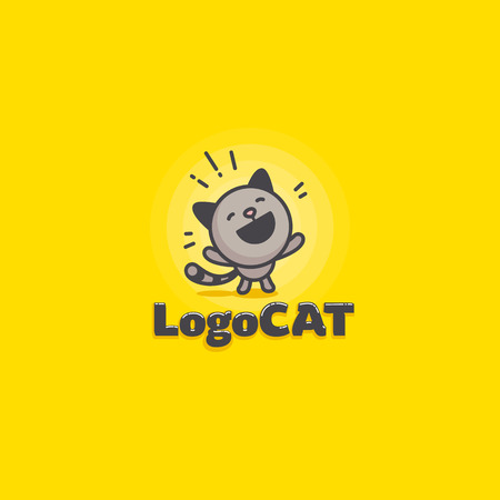 cute happy cat logo on a yellow background. vector