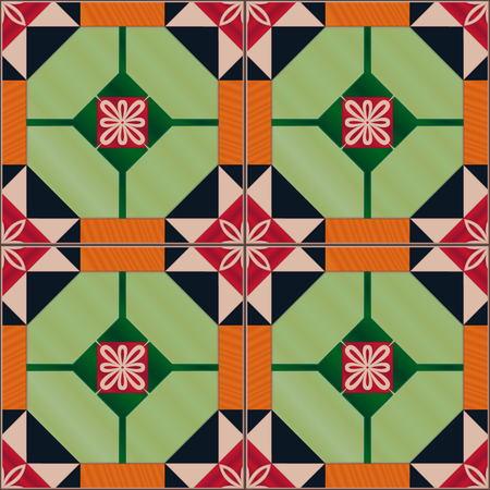 Seamless pattern with Portuguese tiles. Realistic vector illustration of Azulejo. Mediterranean style. Green and red colors. Illustration