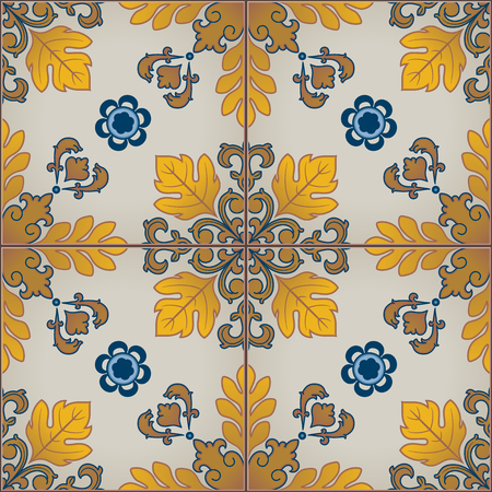 ceramic tiles: Seamless pattern of mediterranean style tiles. Blue and yellow colors.