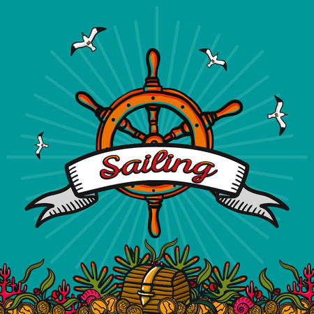 Vector illustration on the theme of sea travel and sailing. Hand-drawn vector image on a blue background Illustration
