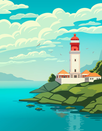 Lighthouse on coast of sea, structure of lighthouse on shore. Summer holidays. Cape Rock. High quality vector illustration.
