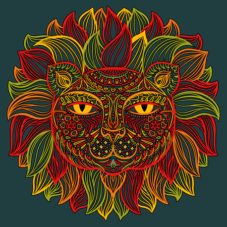 Color image of a lion head on a dark background. Can be used for logo, tattoo, horoscopes, T-shirt graphic, etc.