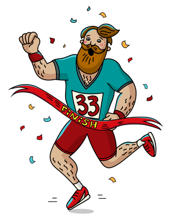 Man runner cross the finish line. Cartoon style. Marathon. Vector illustration. Ilustração