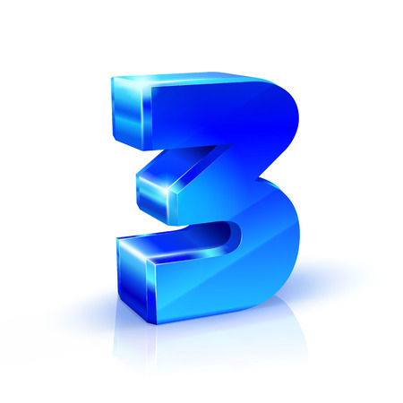 Glossy blue Three 3 number. 3d Illustration on white background. Vector