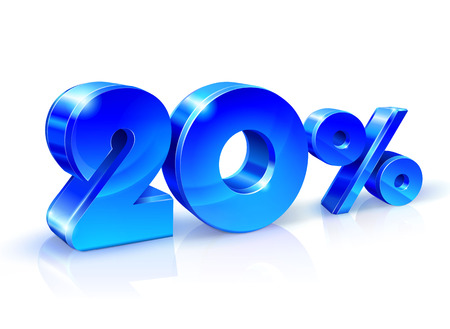 Glossy blue 20 Twenty % percent off, sale. Isolated on white background, 3D object. Vector illustration. Illustration