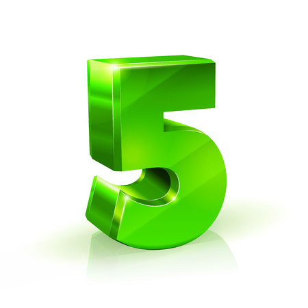 chrome: Glossy green Five 5 number. 3d Illustration on white background. Vector