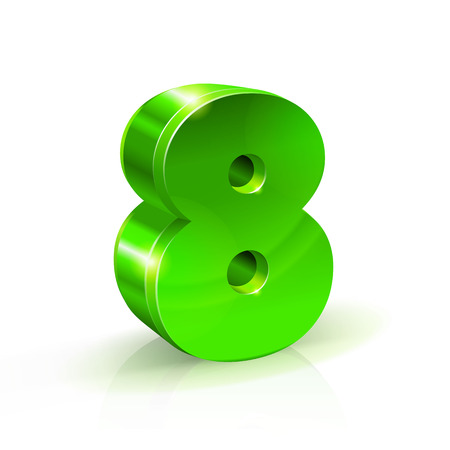 illustrating: Glossy green Eight 8 number. 3d Illustration on white background. Vector