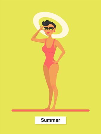 A respectable woman in red bikini on a beach. Summer holidays. Luxary travel and rest. vector illustration. Stock Photo