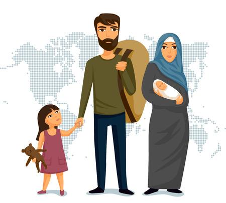 Infographie des réfugiés. Assistance sociale pour les réfugiés. Famille arabe. Sécurité de l'immigration. Modèle de conception. Concept d'immigration des réfugiés. Illustration vectorielle Vecteurs
