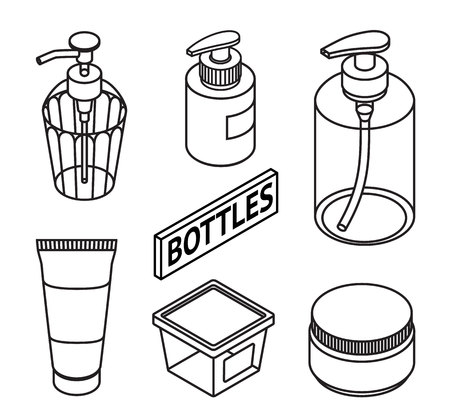 Set of Line style cosmetics for skin care. Icons of cosmetic bottles and package. Bottles for shampoo, creams, tonic, mask, soap, gel. Vector illustration.  イラスト・ベクター素材