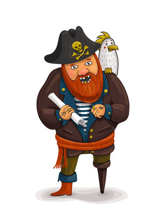 costume eye patch: An illustration of a friendly cartoon pirate holding a treasure map. A cartoon pirate with a parrot on his shoulder. Pirate Red beard. One-legged pirate. Vector illustration