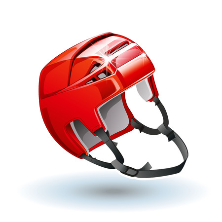 arquero de futbol: Classic red Ice Hockey Helmet. Realistic sports equipment isolated on white background. Vector illustration
