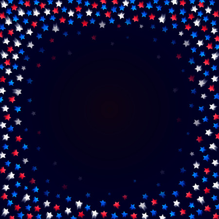 Sters confetti frame on dark background. Blue, red and white stars with motion blur. Vector illustration. Ilustração