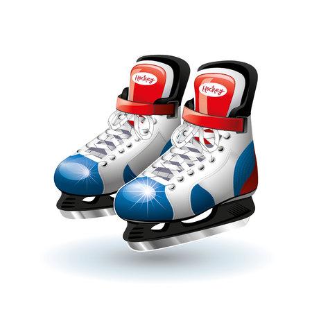 Realistic Ice hockey skates, isolated on white. Vector illustration.