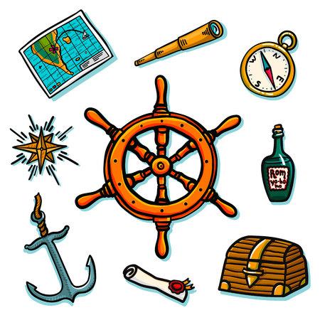 Conjunto marino. Equipo de a bordo sobre un fondo blanco. Tronco, timón, mapa, desplazamiento, brújula, rosa de los vientos, anclaje del telescopio de la botella de ron Ilustración vectorial