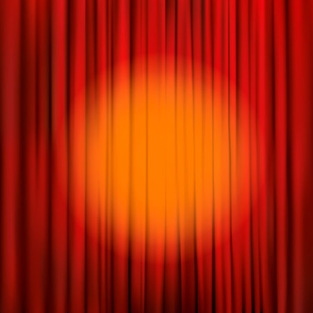 Spotlight on a red stage curtain. Vector illustration