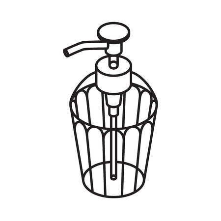 dishwashing liquid: Liquid soap outline Icon. Dispenser isolated on white background. vector illustration