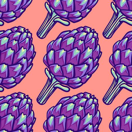 Artisjok violet bloem hoofd naadloze patroon. Decoratief beeld van purpere Roman artisjok op roze achtergrond. Artisjokbloem. Vector illustratie