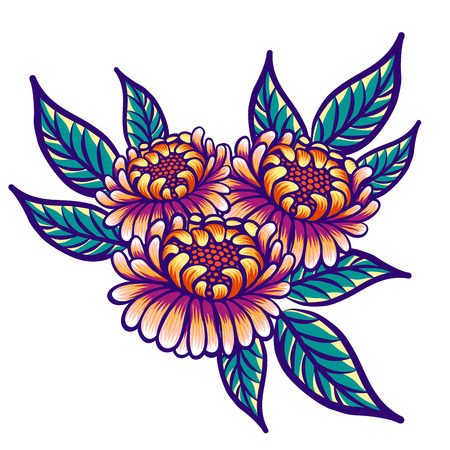 Floral hand drawn vintage flowers. Fabulous orange-purple flowers and green leaves on a white background.