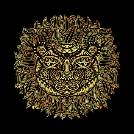 Golden Lion head. Tribal pattern. Image of a lion head on a black background. Can be used for logo, tattoo, horoscopes, T-shirt graphic, etc. Vector illustration. Illustration
