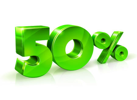 Glossy green 50 Fifty percent off, sale. Isolated on white background, 3D object. Vector illustration.