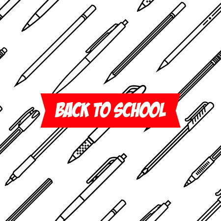 Pencil and pens thin line vector icons with a different classic design back to school vector illustration
