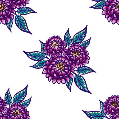 花模様の手描き下ろしヴィンテージ シームレス パターン花と葉。素敵な紫色の花と白の背景に青の葉。エキゾチックな鮮やかな葉を持つ熱帯のシー