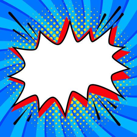 ポップアート スタイル音声バブル テンプレートあなたの設計のための。空コミック ポップ アート スタイルは、ツイスト青地に図形を強打します。  イラスト・ベクター素材