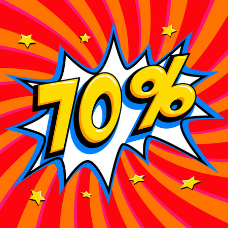 Red sale web banner. Pop art comic sale discount promotion banner. Big sale background. Sale 70 off on a Comics pop-art style bang shape on red twisted background. Seasonal discounts, Black Friday, the interest rate, etc. Vector illustration Illusztráció