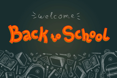 Back to school doodles in chalkboard . Outline style. Back to school thin line doodle illustration template. Sketchy concepts with stationery for graphic design, web banner and printed materials. Back to school. Writing materials illustration