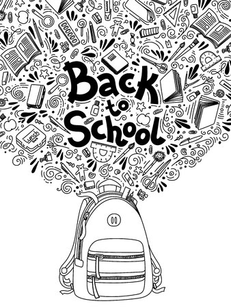 Stationery collection. Outline style. Back to school thin line doodle illustration template isolated on white . Sketchy concepts with stationery for graphic design, web banner and printed materials. Back to school. Writing materials illustration